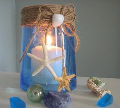 Beach Decor Shell Vase or Candle Hurricane in Cobalt Blue w Shell Accents lindapyatt