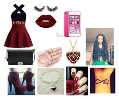 """""""Burgundy wine"""" by loopzydoll ❤ liked on Polyvore featuring Chicwish, Gucci, Chanel, Lime Crime and Highland Angel"""