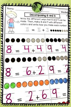 Great Math Homework for kindergarten students. This math program works perfectly as a spiral review, it's great for math centers or for math morning work! Teaching Addition, Addition Activities, Kindergarten Math Activities, Teaching Math, Morning Work, Anchor Charts, Math Centers, Homework, Spiral