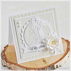 Elegancka kartka ślubna ecru Wedding Cards Handmade, Anniversary, Paper Crafts, Scrapbook, Bridal, Frame, Flowers, Wedding Card, Invitations