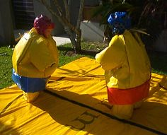 Kids sumo wrestling suits available for hire. Ridiculous fun for kids aged up to 12. Teach your children to wrestling like Japanese sumos.