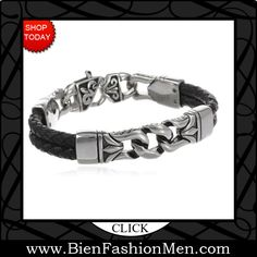 Mens Bold Bracelets | Mens Bracelets | Mens Bracelet | Mens Jewelry | Mens Accessories | Bracelets on Men | Mens Jewelery | Shop Now ♦ Men's Stainless Steel and Black Leather Bracelet $35.00