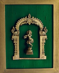 Beautiful Framed Brass Prabhavali On Emerald Green Raw Silk With Lord Krishna. Frame Height 45 cm x Width 35 cm Beautiful Framed Brass Prabhavali On Emerald Green Raw Silk With Lord Krishna. Frame Height 45 cm x Width 35 cm Indian Inspired Decor, Indian Theme, Ethnic Home Decor, Indian Home Decor, Om Sign, Indian Room, Temple Bells, Indian Interiors, Modern Interiors