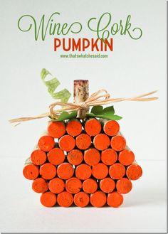 Cork Pumpkin Project from @cspangenburg #fall