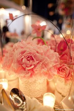 Pink Peonies in vases wrapped in soft Japanese paper by Lindsay Landman Events