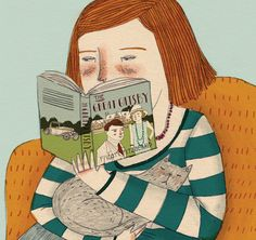 woman reading by Lizzy Stewart Reading Art, Woman Reading, Lizzy Stewart, I Love Books, Cute Illustration, Cat Art, Illustrators, Book Art, Design Art