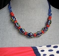 My dear 81 year old jewelry designer friend just designed PRIMARY COLORS. $22.00.  Charming blown glass beads, glass chips and glass seed beads, with a few coral beads for good measure!  Cute.