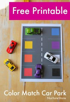 Car play mat printable for transport theme learning activities - NurtureStore taake a 7 dy FREE testdrive with our e-learning course software today Cars Preschool, Transportation Preschool Activities, Transportation Activities, Preschool Colors, Preschool Learning Activities, Toddler Activities, Car Learning, Nursery Activities, Learning Through Play