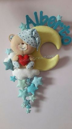 luna Baby Crafts, Felt Crafts, Diy And Crafts, Crafts For Kids, Arts And Crafts, Felt Wreath, Felt Garland, Felt Ornaments, Felt Animal Patterns