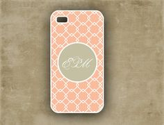 Iphone 4 case - Coral peach diamond pattern, preppy Iphone 4 case, 4s - customized Iphone cover (9786)