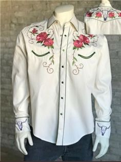 Rockmount Men's Ivory Steer Skull & Floral Embroidery Western Shirt Western Shirts, Western Wear, Chemises Country, Mexican Quinceanera Dresses, Embroidered Denim Shirt, Rodeo Outfits, Mexican Outfit, Shirt Maker, Vintage Denim
