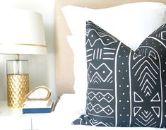 Mudcloth Print pillow cover in faded black (not strong vivid black) gives a soft look to your boho decor!  Print on front, solid black cotton on back  Zipper enclosure  Linen/Canvas Cotton - Home Decor Weight  New fabric, not vintage By Willa Skye Home