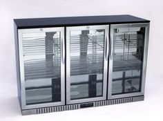 "3-Door Stainless Steel Back Bar Cooler, 54"" width, under counter refrigerator."