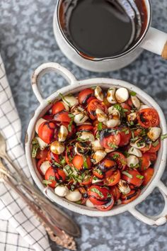 Caprese Salad is the perfect easy side dish for any BBQ! Simple, delicious, and healthy! Tomato, Mozzarella, Basil, and Balsamic Vinegar. A family favorite! This Chopped Caprese Salad Recipe (Tomato Mozzarella Salad) is my go-to side dish for everything Summer!