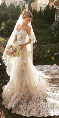 24 Romantic Bridal Gowns Perfect For Any Love Story ❤️ lace sheath romantic bridal gowns with straps full embllishment beige crystal design ❤️ Full gallery: https://weddingdressesguide.com/romantic-bridal-gowns/ #bride #wedding #bridalgown #weddinggowns