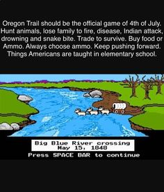 Oregon Trail was actually a required class for my school. Brutal lessons learned in that game. Buy a wagon so you can go through hell to find a potentially better job and life. Or die trying. #america #hustle #work #ammo #school #patriots #warriors #usa #hunt #ammo #history #guns #grind #work #live #survive #push #independence #freedom #4thofjuly Photo cred social media week and Anna Garvey. misstagram.com/...