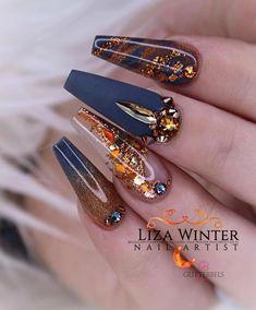 Cobre e Marinha por . Cute Acrylic Nail Designs, Fall Nail Designs, Cute Acrylic Nails, Fun Nails, Pretty Nails, Nail Art Printer, Copper Nails, Nailart, Navy Nails