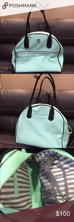 Lululemon gym bag Beautiful mint green like-new Lululemon multi-purpose bag. Great for school, work, the gym or all three! Separate compartments for essentials as seen in photo. Used less than 10 times, comes from a smoke free home. lululemon athletica Bags Shoulder Bags