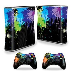 Protective Vinyl Skin Decal Cover for Microsoft Xbox 360 S Slim + 2 Controller Skins Sticker Skins Splatter Amazing Discounts Your #1 Source for Video Games, Consoles & Accessories! Multicitygames.com Click On Pins For More Info