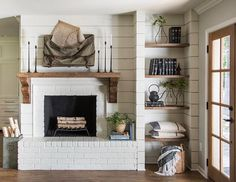 Rustic Farmhouse Fireplace Inspiration From Fixer Upper – Farmhouse Blooms – Farmhouse Fireplace Mantels Farmhouse Fireplace Mantels, Fireplace Shelves, Shiplap Fireplace, Cozy Fireplace, Fireplace Remodel, Fireplace Design, Fireplace Ideas, Country Fireplace, Fireplace Kitchen