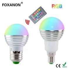 1Pcs Dimmable 16 Colors RGB Christmas Decor Atmosphere LED Night light E27 E14 5W 85V - 265V LED lamp Spotlight Bulb + IR Remote  Price: 3.06 USD