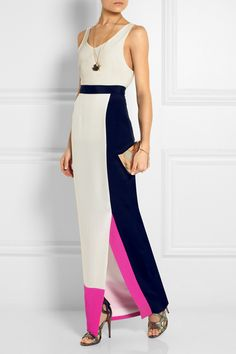Roksanda Ilincic's ayton color-block silk-crepe maxi skirt is perfect for this withering weather. Boho Dress, Dress Skirt, Maxi Dresses, Maxi Skirts, Long Skirts, Colorblock Dress, Silk Crepe, Pretty Outfits, Dress To Impress