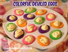 Easter Deviled Eggs Ingredients 10 hard boiled eggs food coloring 1 tsp vinegar for each color you are using water ½ cup Light mayonnaise or Light. Colored Deviled Eggs, Easter Deviled Eggs, Deviled Eggs Recipe, Easter Décor, Hard Boiled, Boiled Eggs, Egg Recipes, Cooking Recipes, Healthy Recipes