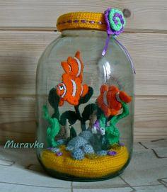 Разноцветное счастье: Вязаный аквариум в трехлитровой банке