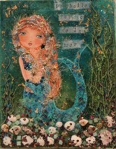 "Gemstone Magic Fine Art Print of Mixed Media Painting ""Mermaid Magic"" Inspirational Mermaid with Seashells and Gemstone Crystal paints"