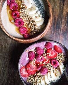 caramel baboab tahini smoothie bowl - acai smoothie bowl - both topped with chia seeds + other yummy goodies