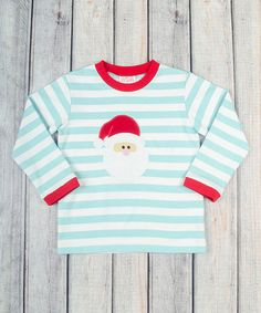 Another great find on Aqua Stripe Santa Tee - Infant, Toddler & Boys by Stellybelly Toddler Boys, Baby Kids, Infant Toddler, Baby Boy Fashion, Christmas Sweaters, Long Sleeve Shirts, Aqua, Christmas 2015, Clothes
