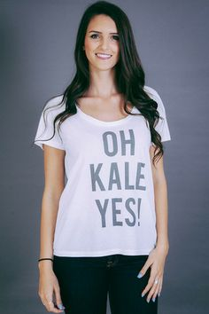"""OH KALE YES!"" Open Neck T-Shirt-available at www.theblondeveganstore.com!"