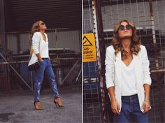 Angelica Blick: love the white on white with destroyed jeans and awesome pumps