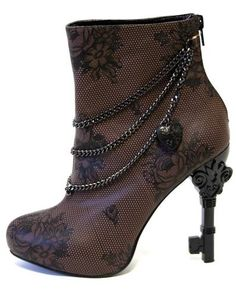 Too Fast Steampunk Unlock This Lace Brown Chain Victorian Key High Heel Boot | eBay