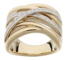 Bold Highway Design Ring with 1/10 ct tw Diamond 14K Gold want it!!