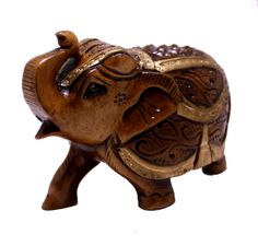 """(sku no: royal elephant statue_518)Exquisite Hand Carved Wooden Indian Royal Elephant Figurine Statue.Size: 6.3"""" x 6.7"""" inches."""