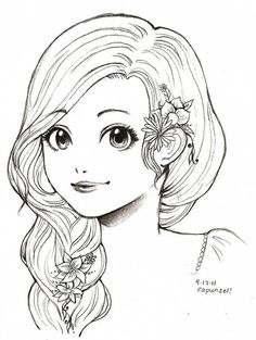 Rapunzel- Tangled by O-cha-ra @ deviantART Girl Drawing Sketches, Girly Drawings, Art Drawings Sketches Simple, Pencil Art Drawings, Girl Drawing Images, Colouring Pages, Adult Coloring Pages, Coloring Books, Colorful Pictures