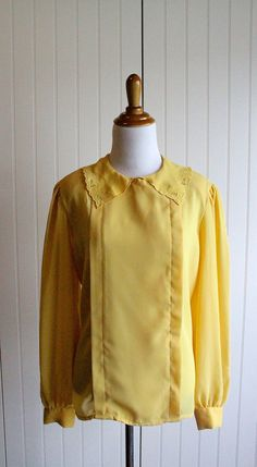 Vintage 70s Sunshine Yellow Blouse With Scalloped by TheRubyOlive, $25.00