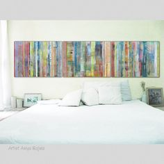 """Original peinture abstraite moderne d'art abstrait de peinture acrylique 32 x 24 """"chacun Total taille 96""""(243.84cm) x 24""""(60.96cm) Lime rose corail stripes sur Etsy, $269.51 CAD"""