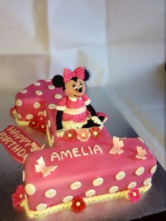 Minnie mouse first birthday cake shaped numbercakes Pinterest