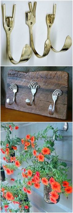 Manualidades diy con cubiertos. www.ecodecomobiliario.com Wood Projects, Fork Art, Spoon Art, Forks, Spoons, Repurposed Wood, Ideas Prácticas, Cool Ideas, Metal Crafts