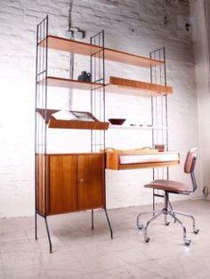 details zu 50er 60er wandregal shelf stringregal string regal regalsystem vintage 50s 60s d. Black Bedroom Furniture Sets. Home Design Ideas