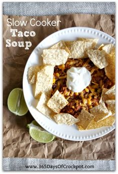 Recipe for EASY slow cooker turkey or ground beef taco soup