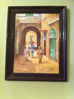Beautiful painting by a Libyan artist - Reiani. I bought it from this lovely artist in Tripoli, Libya 2005. I wish I knew if this man still paints. One of my favourite pictures in my house :)
