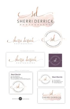 """Rose gold font with watercolour for home page, with alternative for watermarking. - more """"handwritten rose gold font for """"Umoya"""" though? Cool Business Cards, Business Logo, Custom Logo Design, Custom Logos, Graphic Design, Branding Design, Brand Identity, Logo Inspiration, Photography Logos"""