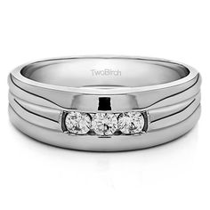 10k White Gold Men's 1/3ct TDW Diamond 3-stone Wedding Fashion Ring (G-H, I2-I3) (10k Two Tone Gold, Size 7), Two-Tone