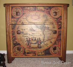 Home Girl Decor: Antique Map Dresser