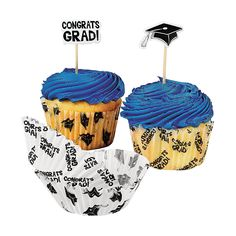 Graduation Cupcake Liners with Picks - OrientalTrading.com  I think these are the ones....thoughts?