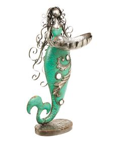 This Metal Mermaid Planter Statue is perfect! #zulilyfinds