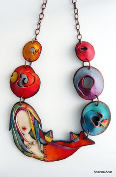 "Polymer clay necklace :"" Mermaid of the Mediterranean"""